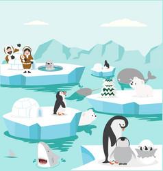 Set animals in north pole arctic background vector