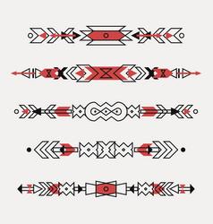 Set decorative ethnic borders vector