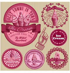 set labels with ice cream for packing vector image
