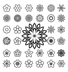 Set of flower line icons vector
