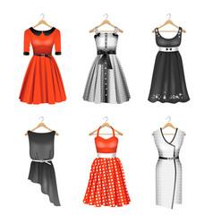 set of six colour dresses vector image