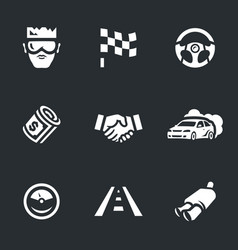 set of street racing icons vector image