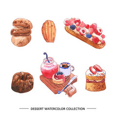 Set watercolor chocolate cake juice on white vector