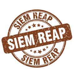 Siem reap brown grunge round vintage rubber stamp vector