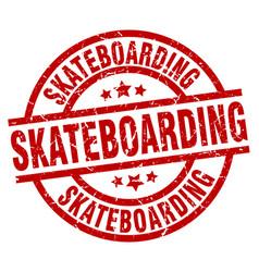 Skateboarding round red grunge stamp vector