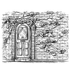 sketch hand drawn old wooden arched door in brick vector image