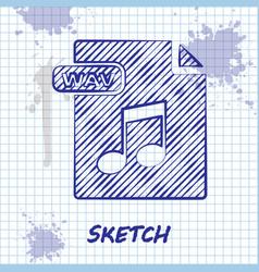 Sketch line wav file document download wav button vector