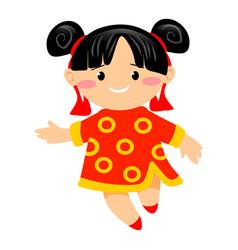 smiling young girl in traditional red suit with vector image