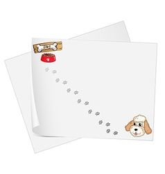 Stationery papers with a pet and footprints vector