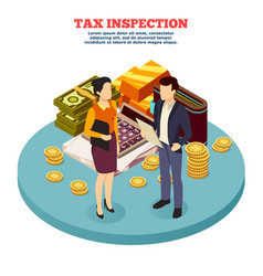 Tax inspection isometric composition vector