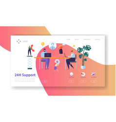 Technical support customer service landing page vector