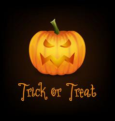 trick or treat happy halloween banner with pumpkin vector image