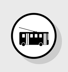 trolleybus sign flat black icon in white vector image