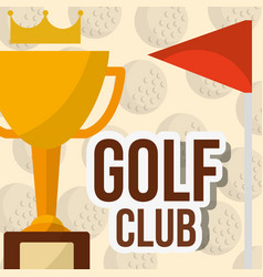 Trophy golf club red flag balls background poster vector