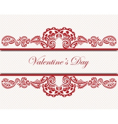 Valentines day lace card vector