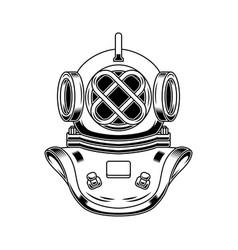 vintage diver helmet in engraving style design vector image