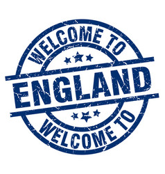welcome to england blue stamp vector image