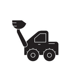 wheel loader black concept icon wheel vector image