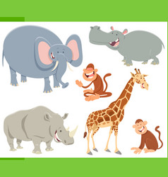 wild animals cartoon characters set vector image