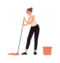 Woman washes floor with mop cartoon character flat vector