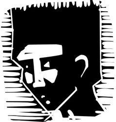 Woodcut face african youth vector