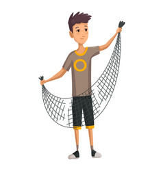 Young man with fish net in his hands boy prepares vector