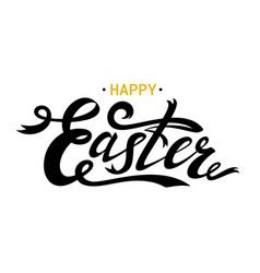 happy easter lettering card black ribbon text vector image