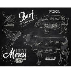 Meat Menu chalk vector image vector image