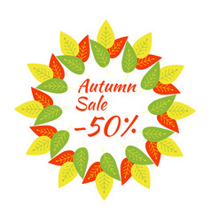round frame with the text autumn sale - 50 a vector image vector image
