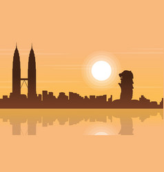 singapore and malaysia city beauty landscape vector image