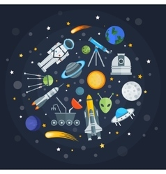 Space Exploration Round Design vector image vector image