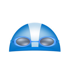 swimming cap and goggles in blue design vector image vector image