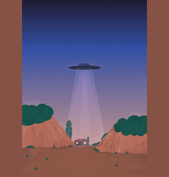 alien ship arrival ufo on the horizon over the vector image