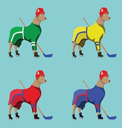 Hockey Dogs Mascots in Colorful Sportswear vector image vector image