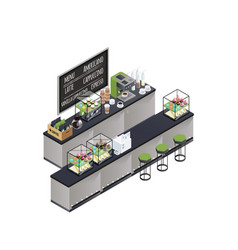 isometric coffee bar composition vector image vector image