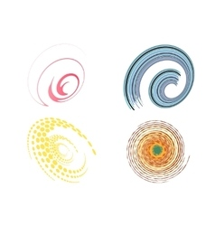 set of 4 colorful swirl signs vector image
