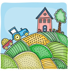 agricultural fields house on hill vector image