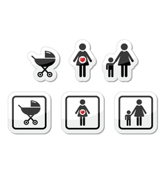 Baby icons set - parm pregnancy mother vector image