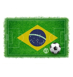 Brazil flag on soccer field with realistic grass vector image