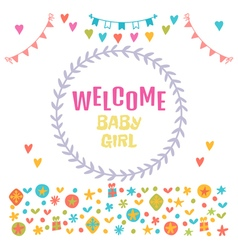 Welcome baby girl Baby girl shower card Baby vector image