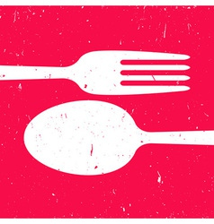 Cutlery on red background vector image vector image