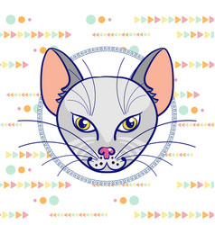 hand drawing a portrait of a gray cat in a circle vector image