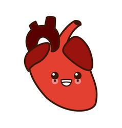 human heart symbol kawaii cartoon vector image