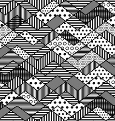 monochrome geometric patchwork pattern vector image