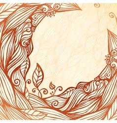 Vintage doodle leaves ornate circle frame vector