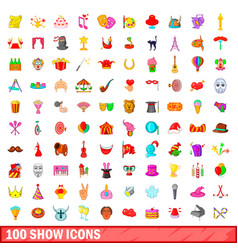 100 show icons set cartoon style vector