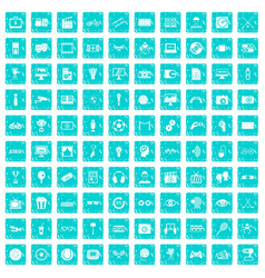 100 video icons set grunge blue vector image
