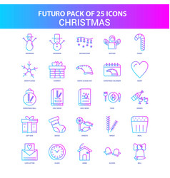 25 blue and pink futuro christmas icon pack vector
