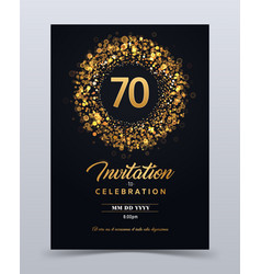70 years anniversary invitation card template vector image