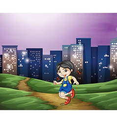 A young girl across the tall buildings in the city vector